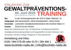 Einladung zum Gewaltpräventionstraining